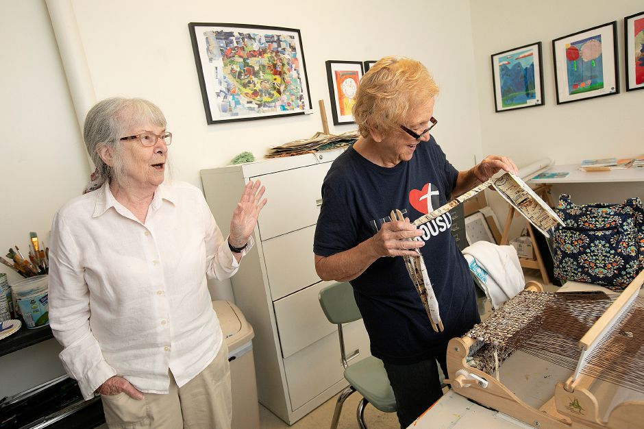 Instructor Ulla Budde, left, shares smiles with Joan Cockcroft, of Cheshire, during a weaving class at Southington Community Cultural Arts, 93 Main St., Tues., June 25, 2019. Southington Community Cultural Arts will offer classes for kids over the summer along with continuing pottery and weaving opportunities for adults. Dave Zajac, Record-Journal