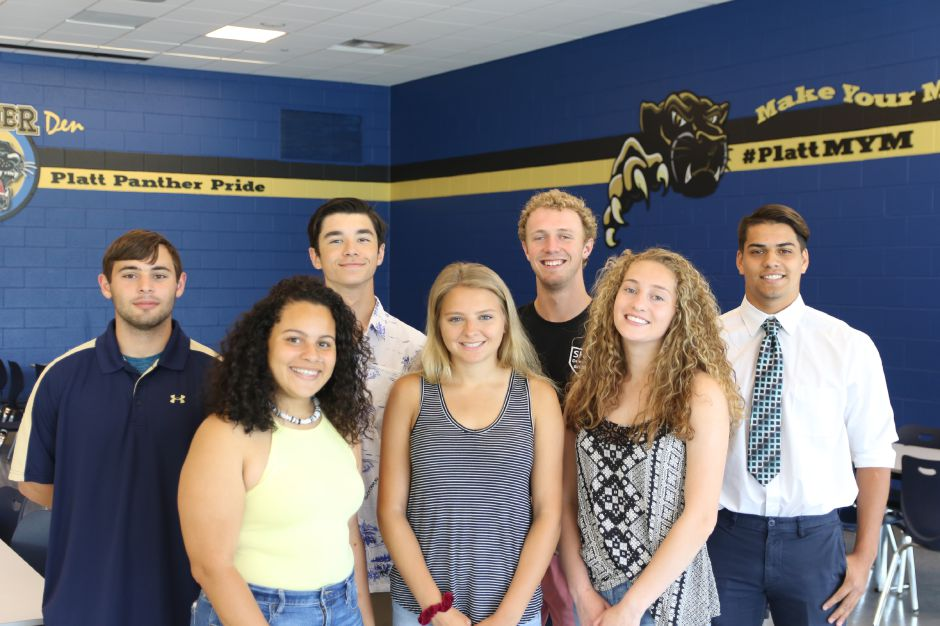 Here are Platt High School's Record-Journal Scholar-Athletes for the 2019 spring season. Daniela Fuentes, Elizabeth Garlock and Julia Misner, left to right, are the girls in front. In back, also left to right, are Clayton Bruenn, Patrick Kudewicz, Cam Germe and Julio Hernandez.