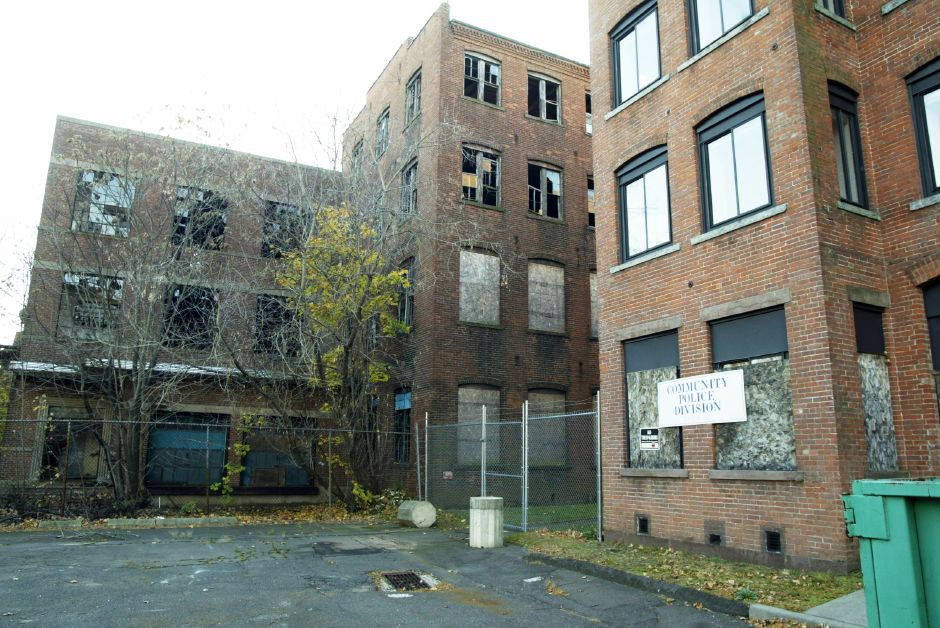 Rear of the Medical Arts Building at 116 Cook Ave. Thurs., Nov. 11 with the remaining International Silver Co. Factory H at the left.