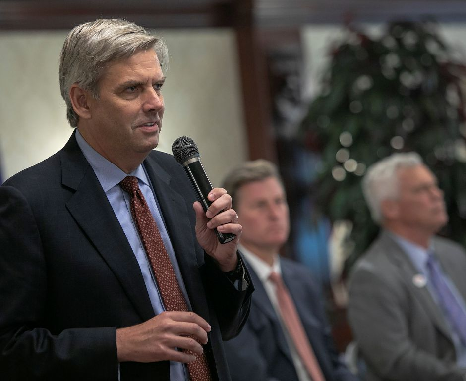 Republican candidate Bob Stefanowski speaks during the Central Connecticut Chambers of Commerce Gubernatorial Forum at the Aqua Turf Club in Southington, Thursday, August 9, 2018. Dave Zajac, Record-Journal