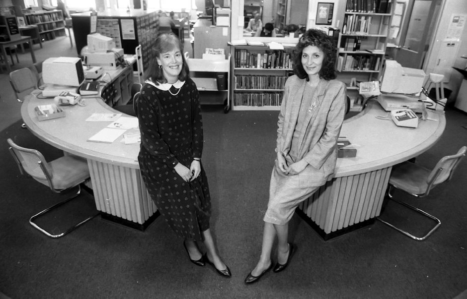 RJ file photo - Library Co-directors Leslie Scherer and Karen Roesler will take time during National Library Week to talk about how computers have changed the way their business is done, April 1999.