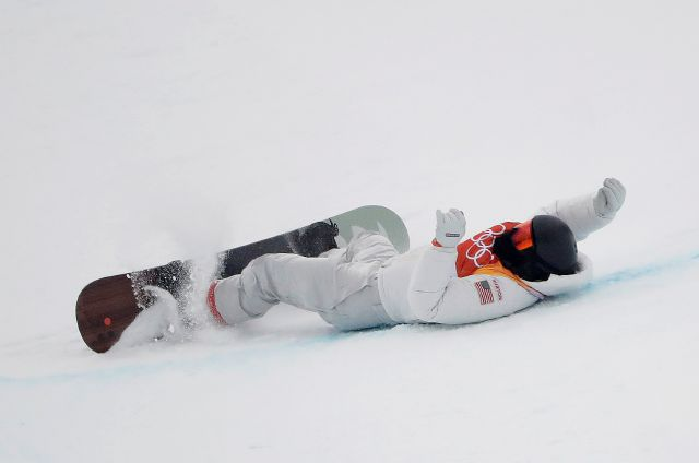 Shaun White, of the United States, crashes during the men