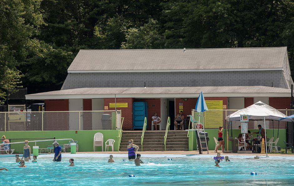 Above: The Wallingford Community Pool, seen here in August. Below: The pool, circa 1958.