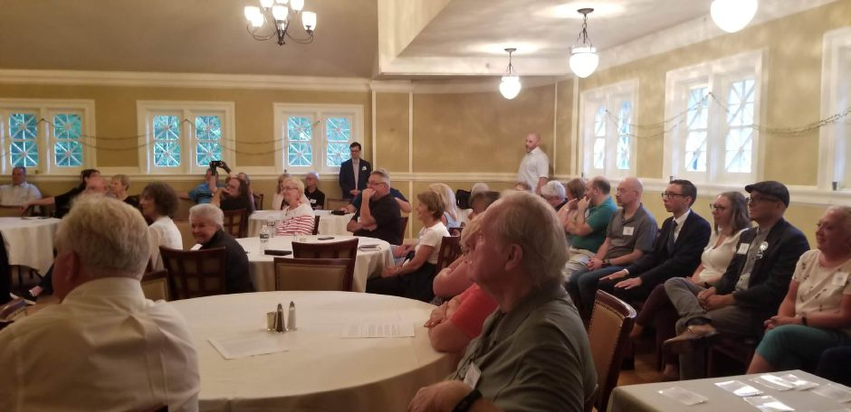 The Democratic Town Committee members met Wednesday at The Library Bar and Bistro and chose candidates for the Town Council,  Board of Education and the mayoral race. July 17, 2019. | Jeniece Roman, Record-Journal.