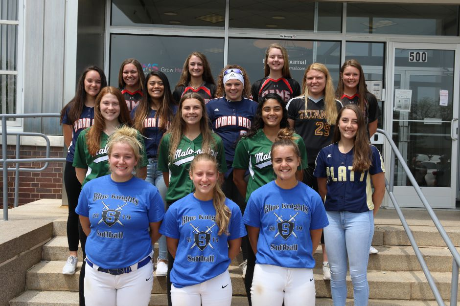 Here is the 2019 All-Record-Journal Softball Team. In front, from the Class LL champion Southington Lady Knights are, left to right, Abby Lamson, Chrissy Marotto and Gabby Verderame-Malachowski. The Meriden girls in the second row, from left, are Maloney's Madison LaValle, Lea White and Milytza Perez and Platt's Caitlyn Hart. The Wallingford girls in the third row are Lyman Hall's Faith Barbieri, Sydney Nilsen and Morgan Tuscano and Sheehan's Riley Wolcheski. The Cheshire girls in back are Lexie Hemstock, Briana Floyd, Mia Juodaitis and Brianna Pearson. Spencer Davis,  Record-Journal