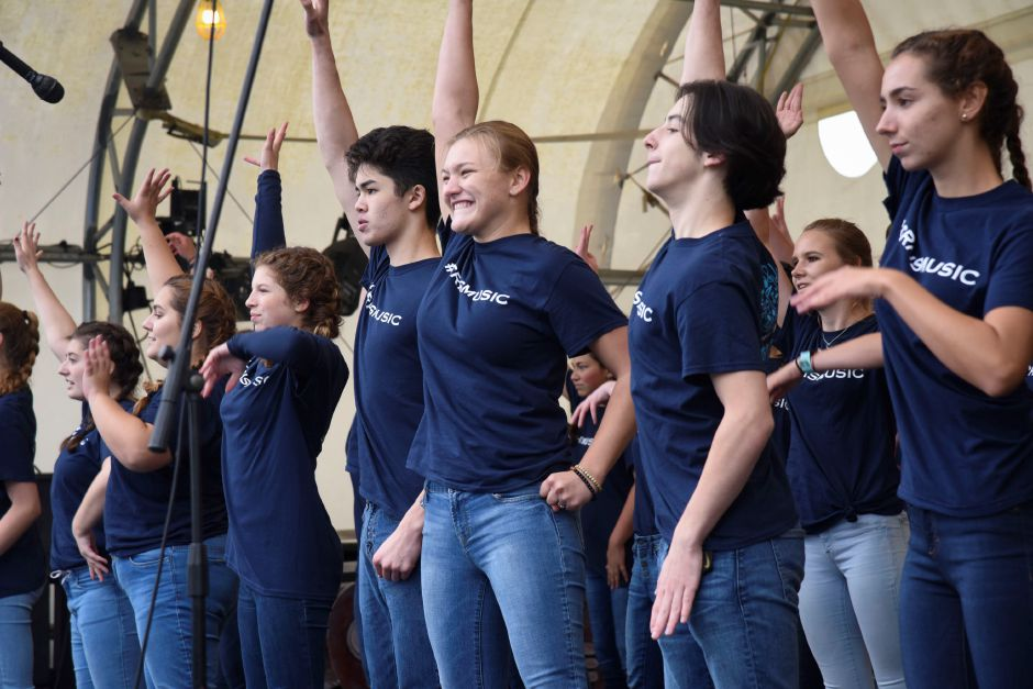 The Coginchaug Reginoal High School show choir performs at the Durham Fair on Friday, Sept. 28, 2018. | Bailey Wright, Record-Journal