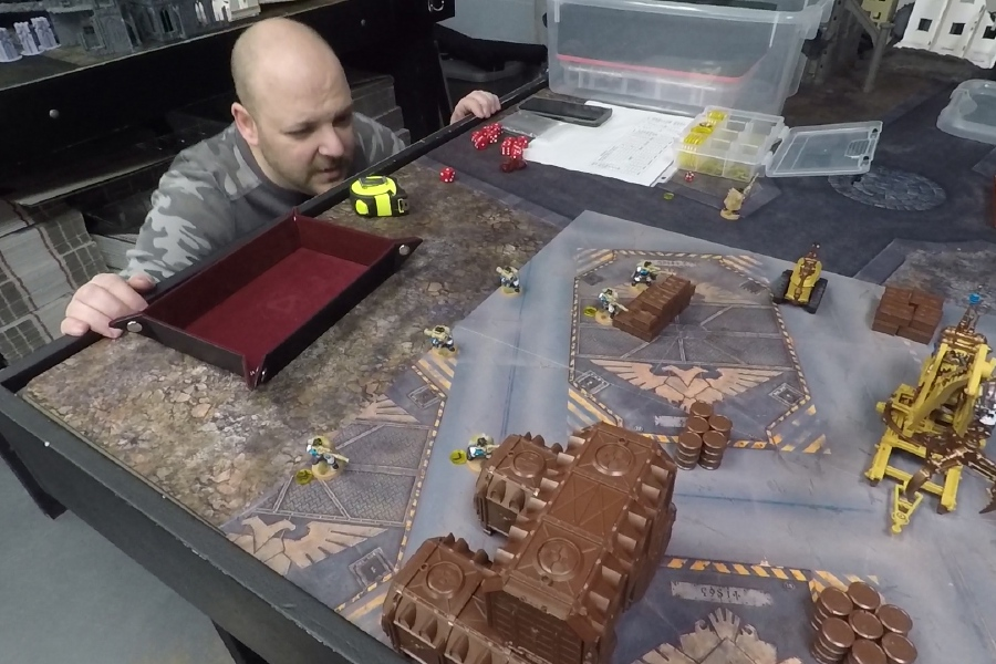 Jerry Volpe of Meriden plays a tabletop war game at The Dragon