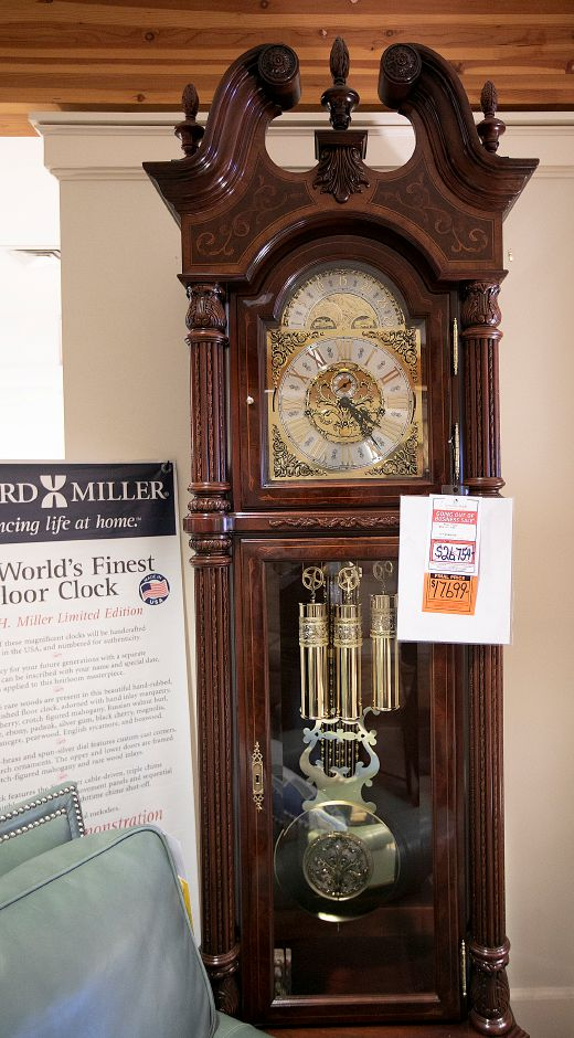 A J.H. Miller Limited Edition floor clock, one of only 1,000 handcrafted exclusively in the USA on sale at Furniture Barn, 535 W. Main St., Cheshire, Fri., Apr. 12, 2019. The price has been cut from $26,754 to $17,699. The business is closing after 52 years. Dave Zajac, Record-Journal