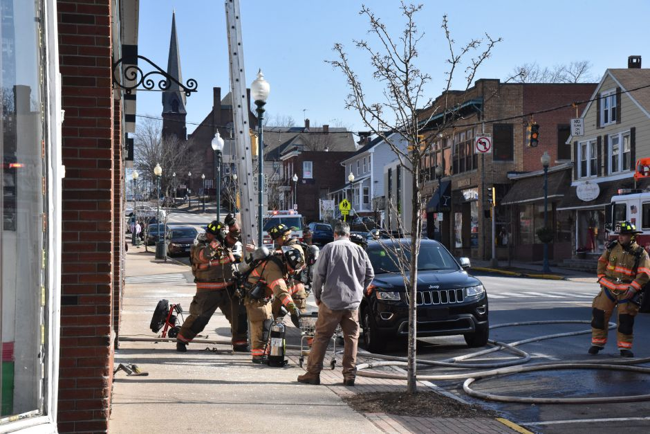 The Wallingford Fire Department responded to Wallingford Laundromat, 148 Center St., when a dryer caught fire on Wednesday afternoon, Feb. 14, 2018. | Bailey Wright, Record-Journal