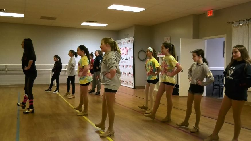 Owner and director Kayt Messina leads a tap class at Fusion Fitness & Dance, a new location at 21 North Plains Industrial Rd., Wallingford, Nov. 26, 2018 |Ashley Kus, Record-Journal