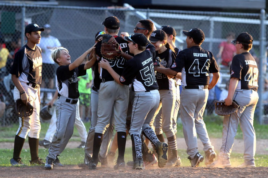 South Meriden celebrates after beating Ed Walsh 20-1 in the final game of the Meriden City Series championship at Habershon Field Thursday August 15, 2019. Aaron Flaum, Record-Journal Staff
