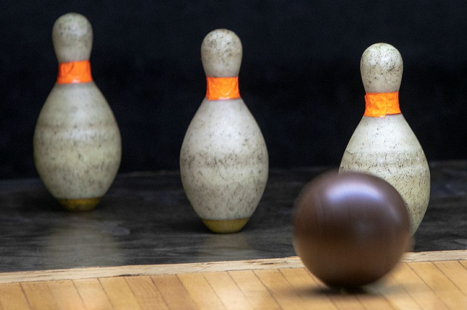 Todd Turcotte, owner of Highland Bowl, picks up a 1-2-4 spare while rolling a few practice frames at the 1211 Highland Ave. business in Cheshire, Fri., May 3, 2019. Highland Bowl is a 20 lane family owned duckpin bowling center. Dave Zajac, Record-Journal