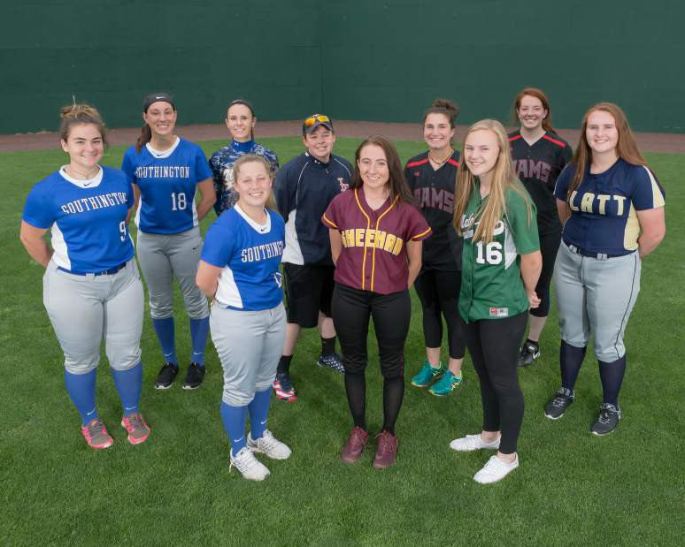Introducing the 2017 All-Record-Journal Softball Team for the 2017 season. Posing in the outfield at New Britain Stadium are, in front, left to right, Amanda DeLorme of Southington, Erin Dighello of Sheehan and Anna Hendrickson Maloney. Arrayed in the back, from left to right, are the Southington battery of Maighread Scafariello and Kara Zazzaro, Wilcox Tech