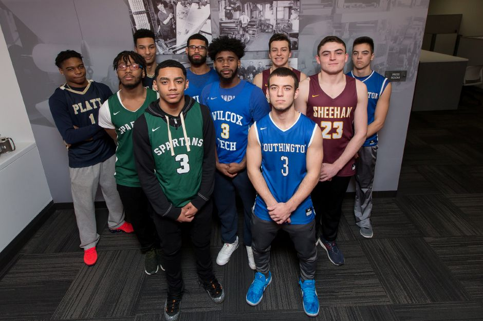 Introducing the 2018-19 All-Record-Journal Boys Basketball Team. In front, from left, are Maloney point guard Vincent Martinez and his Southington counterpart, Colin Burdette. The three guys in the middle, from left, are Maloney's Divine Ransom, Wilcox Tech's DeJuan Ransom and Sheehan's Jack McDonnell. In fac, from left, are Platt teammates Tremayne Carter and Roemello Leary, Wilcox Tech's John Soto, Sheehan's Garrett Molampy and Southington's Jared Kelly. Not pictured are Cheshire's Aidan Godfrey and Ian Battipaglia.