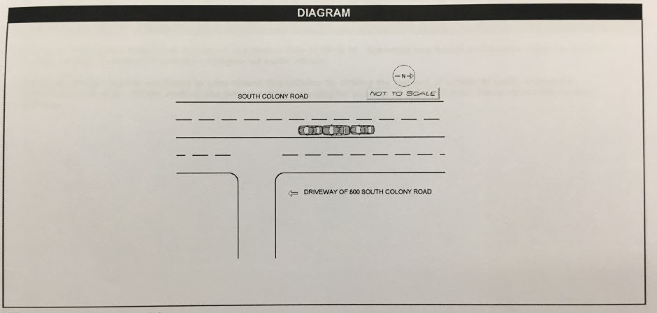 Diagram from the crash report showing the position of the car after Wallingford Police Officer Erik Judkins, in car No. 1, allegedly rear-ended car No. 2, which slid into car No. 3, on South Colony Road, March 26, 2015. | Courtesy of Wallingford Police Department