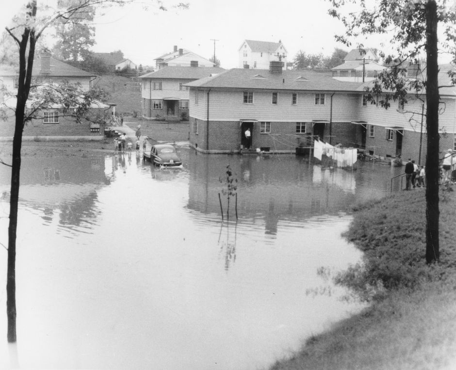 Chamberlain Heights housing development during the 1955 flood.