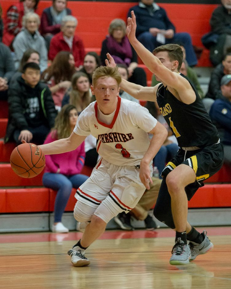 Colby Griffin had a team-high 11 points for Cheshire in Tuesday's 30-28 upset loss to Fairfield Ludlowe in the first round of the CIAC Division II boys basketball tournament. | Justin Weekes / Special to the Record-Journal