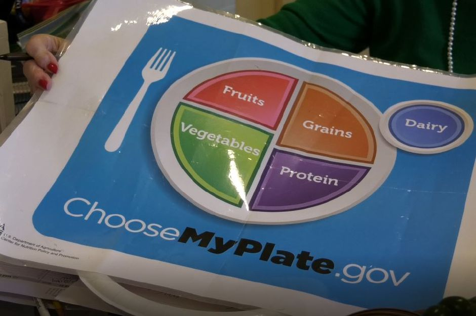"Maryann Meade, registered dietitian of Maryann Meade & Associates, shows the USDA's ""My Plate"" guide for healthier eating, Monday, March 18, 2019. 53 Oakdale Circle, Wallingford. 