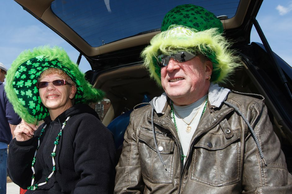 Laura and Dean McMorran of Meriden get in the spirit with some party hats during the St. Patrick