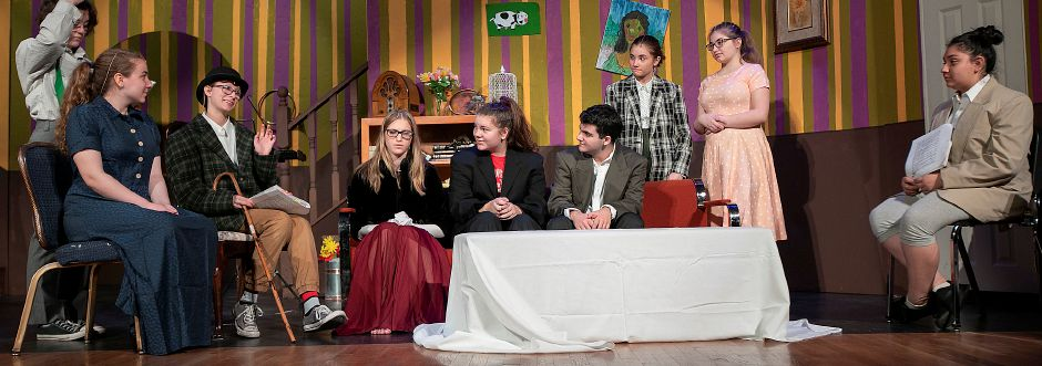 "Cast members of ""You Can't Take It With You"" rehearse a scene from the 1937 Pulitzer Prize winning play at Sheehan High School on Monday. The play is scheduled for 7 p.m. Friday and Saturday at the Sheehan auditorium, 142 Hope Hill Road. See more photos online at www.myrecordjournal.com/news/wallingford Photos by Dave Zajac, Record-Journal"