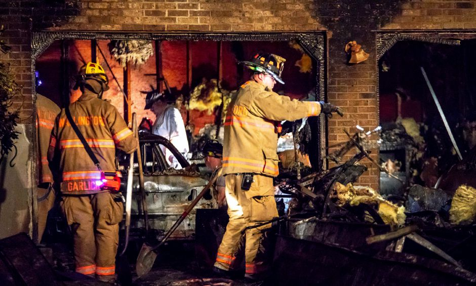 Firefighters responded to a house fire at 427 North Elm Street in Wallingford on Oct. 7, 2018. No injuries were sustained, however the house was rendered uninhabitable. | Devin Leith-Yessian/Record-Journal