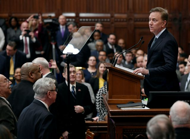 Connecticut Gov. Ned Lamont delivers his budget address at the State Capitol in Hartford, Conn., Wednesday, Feb. 20, 2019. (AP Photo/Jessica Hill)