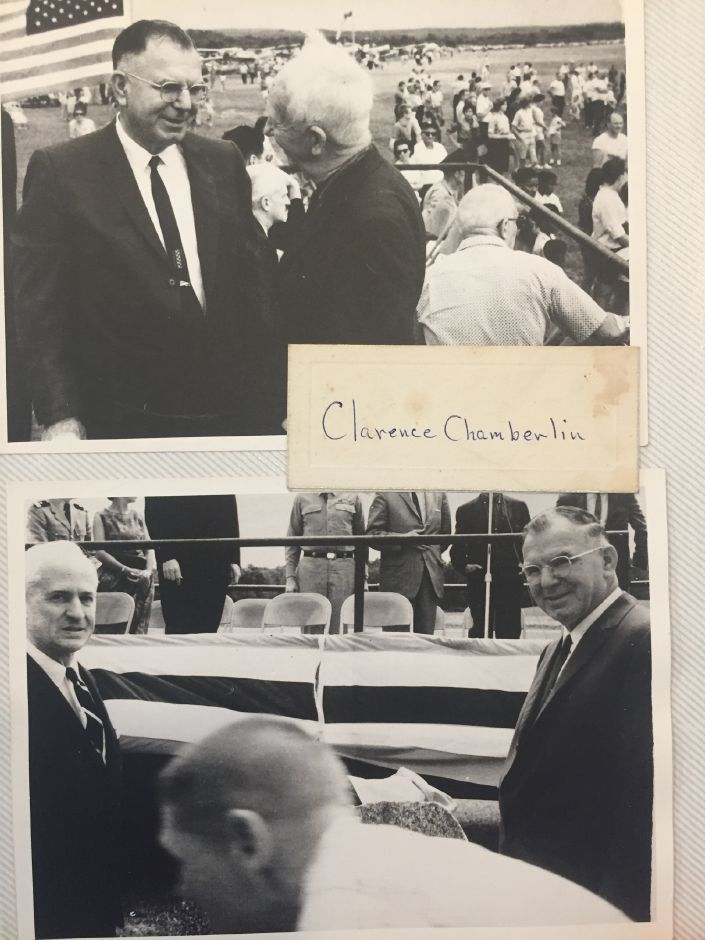 Clarence Chamberlin (top: right) at the dedication ceremony to name Meriden-Markham Airport after its manager of 32 years, Ernest L. Markham. | Photos Courtesy Linda Scialabba