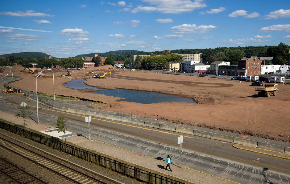 The Hub site in downtown Meriden, Wednesday, September 17, 2014. City officials are working to address the future maintenance, safety and oversight of the 14-acre parcel that's being redeveloped as a park downtown. | Dave Zajac / Record-Journal
