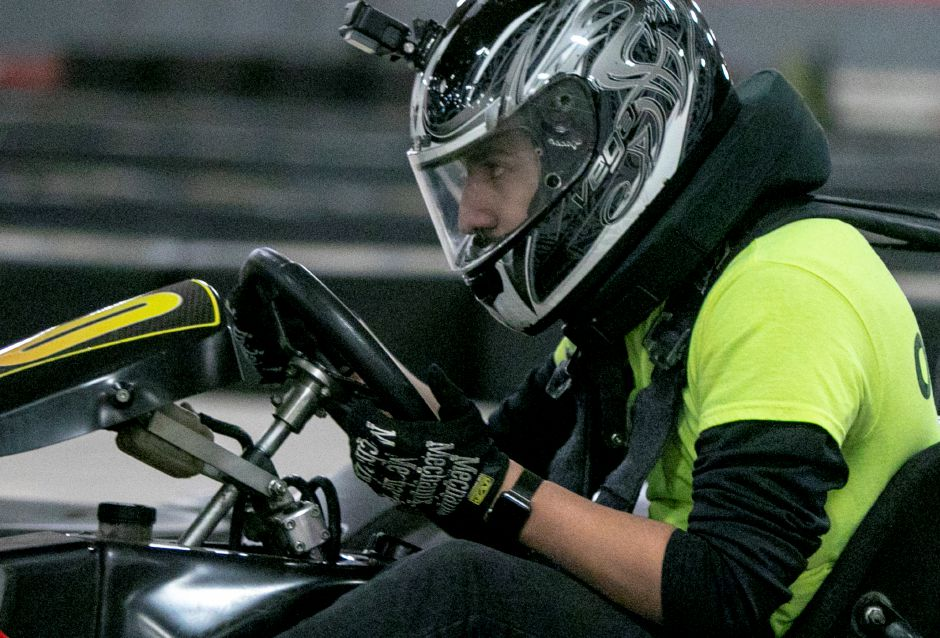 Chris Guzhnay, track manager, practices a few laps at On Track Karting, 984 N. Colony Rd., Wallingford, Tues., Jan. 8, 2019. Dave Zajac, Record-Journal