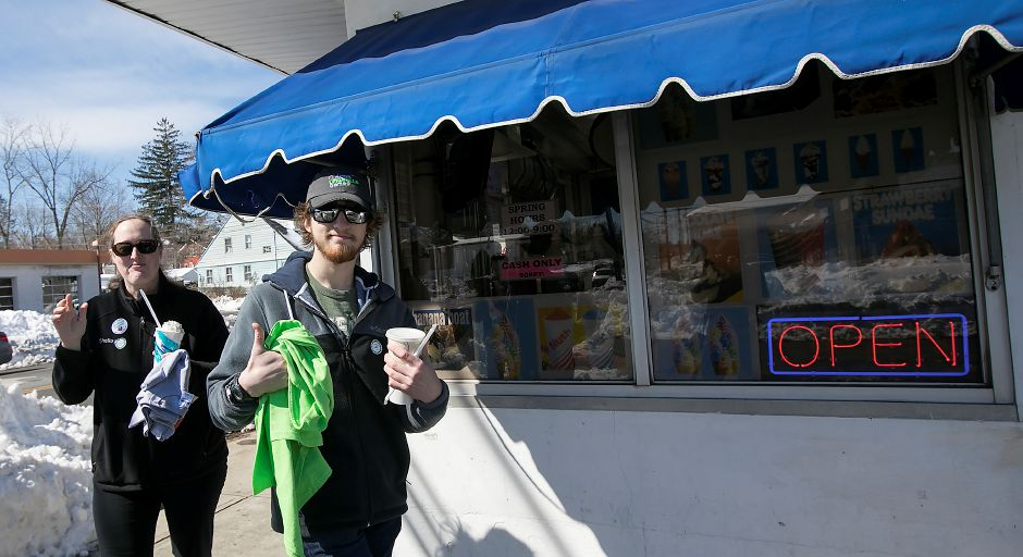 Shelley Bayer of Meriden, and son, Jake, 19, are the first customers of the season at Les