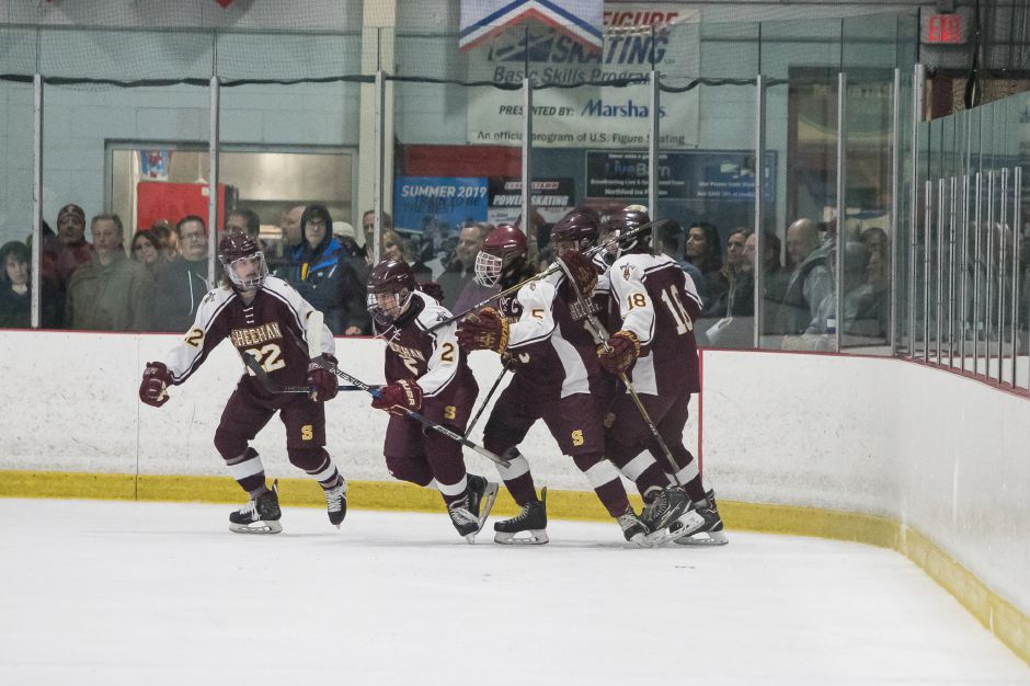 Sheehan celebrates after scoring putting the Titans up 1 to 0 Saturday at the Northford Ice Pavilion in Northford February 16, 2019 | Justin Weekes / Special to the Record-Journal