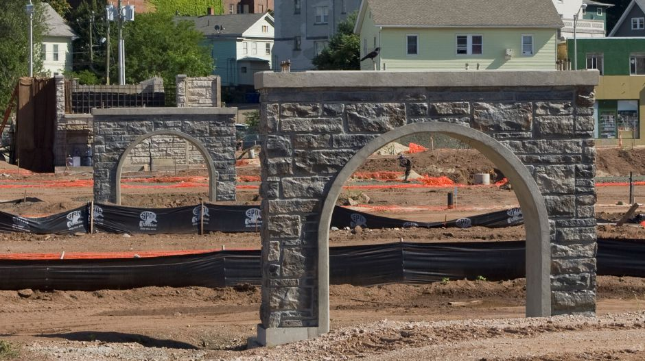 View looking east from State Street shows supports for a 300-foot pedestrian bridge under construction on the Hub site in downtown Meriden, Friday, July 31, 2015. | Dave Zajac / Record-Journal