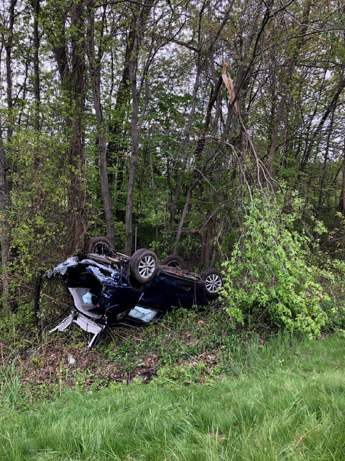 Four people were transported to the hospital after a vehicle rollover on Interstate 84 in Southington on May 14, 2019. | Image courtesy of the Southington Fire Department