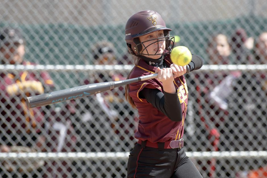 Meghan Murphy's two-run home run in the third inning gave the No. 8 Sheehan softball team a 3-2 lead over No. 1 Cheshire before rain suspended their SCC quarterfinal game in the fourth inning. The game will resume in Cheshire on Wednesday at 4 p.m.  | Justin Weekes / Special to the Record-Journal