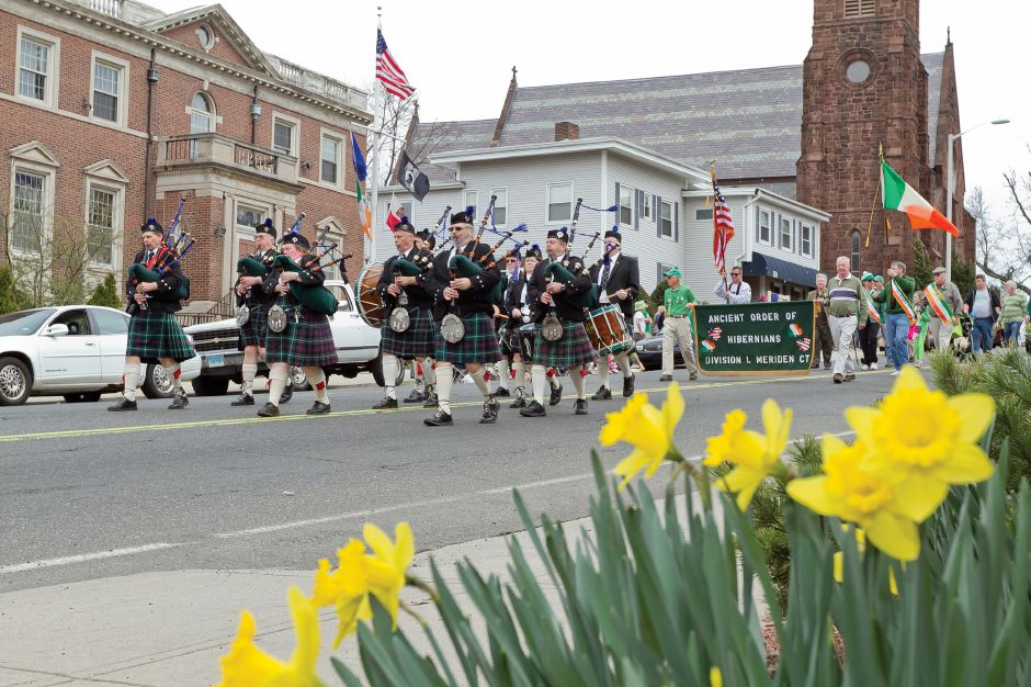 The Meriden division of the Ancient Order of Hibernians march in the St. Patrick