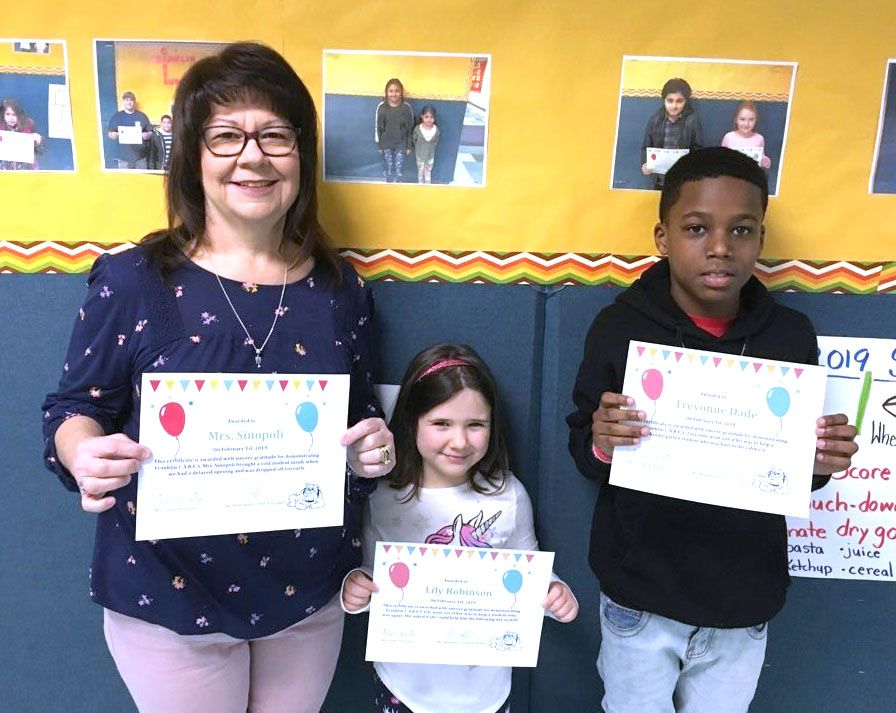Congratulations to Mrs. Sinopoli, Lily Robinson, and Trevonne Dade our latest Benjamin Franklin C.A.R.E.S. winners.  All three were recognized for demonstrating the attributes of Character and Responsibility for helping a student before school, showing kindness towards a classmate, and helping a younger student who was upset.