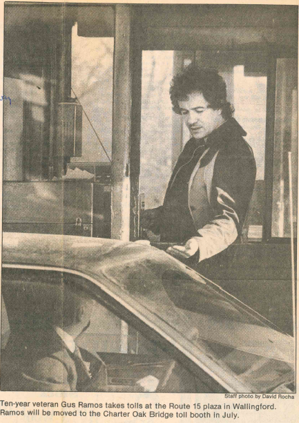 Ten-year veteran Gus Ramos takes tolls at the Route 15 plaza in Wallingford in 1988. | Record-Journal archives
