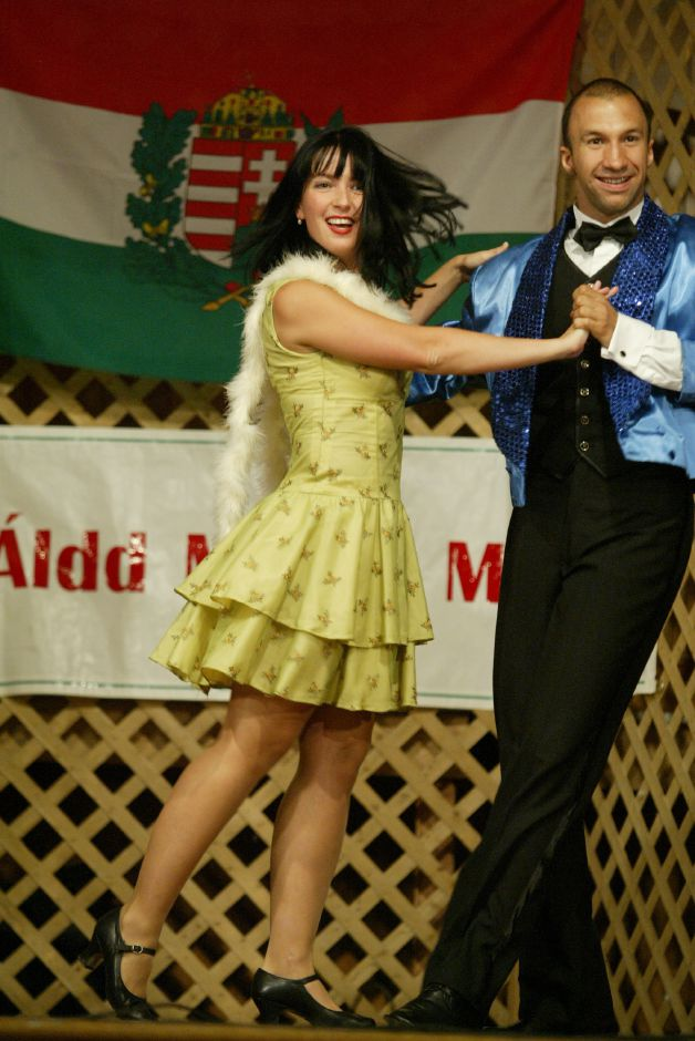 Hungary natives Tunde Csonka, left, and Attila Mohacsi perform a song and dance for over 80 people during a cabaret presentation at the Hungarian Community Club in Wallingford in  2006. File photo, Record-Journal