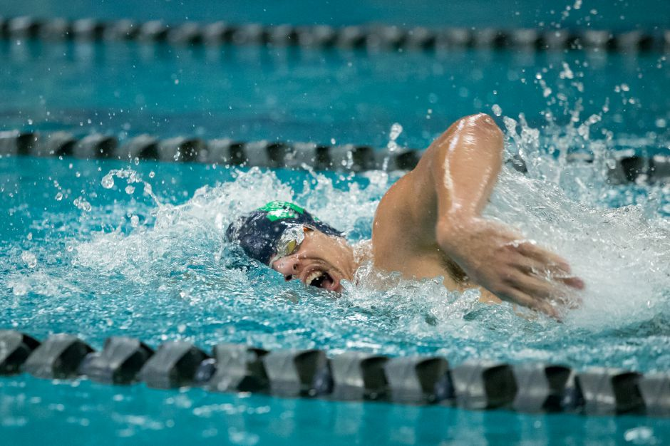 Platt senior Julio Hernandez won the 50-yard freestyle for the Meriden Co-op on Tuesday in a CCC South meet with the Bristol Co-op at Platt High School. | Justin Weekes / Special to the Record-Journal
