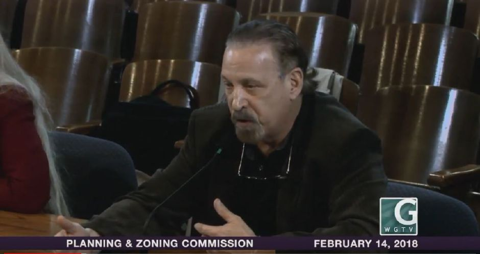 Toyota of Wallingford owner Steve Zion appears before the Planning and Zoning Commission on Feb. 14, 2018, to present an application to expand his Route 5 dealership. | Courtesy Wallingford Government TV