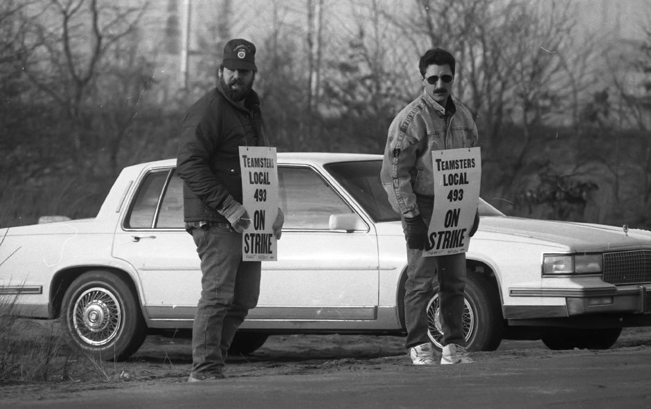 RJ file photo - Teamsters from Local 493 march in front of the American Cyanamid plant Feb. 13, 1989.