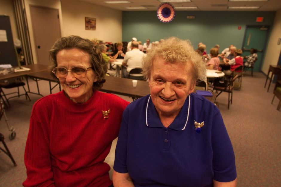 RJ file photo - Helen Rossi, left, and Val Grodzicki, both of Meriden, organize a whist card party at the Max E. Muravnick Senior Center in Meriden June 18, 1999. All the proceeds go to the senior center.