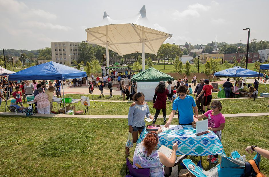 Hundreds attend the annual Back-to-School Expo held at the amphitheater on the Meriden Green, Tuesday, August 22, 2017. | Dave Zajac, Record-Journal