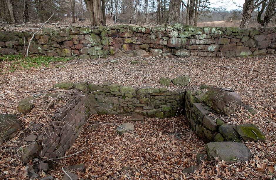 The remains of an underground railroad stop, bottom, on the former Curtiss farm on South End Road in Southington, Fri., Mar. 22, 2019. The remains will be preserved despite the planned construction of a subdivision nearby. Dave Zajac, Record-Journal