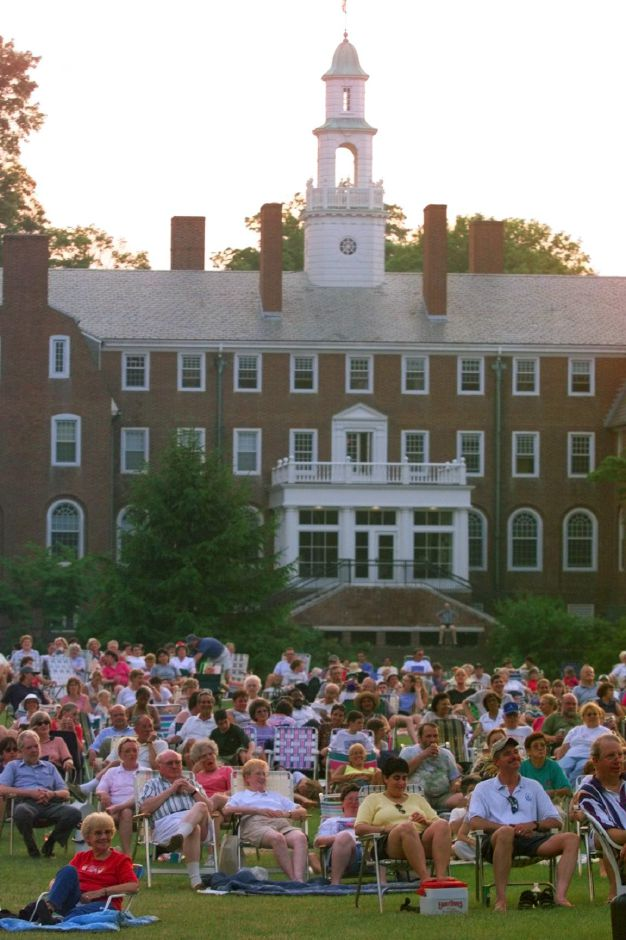 Concertgoers gather on the lawn at Choate Rosemary Hall July 4, 1999 to hear the Wallingford Symphony Orchestra.