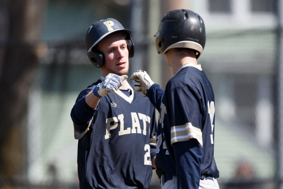 Cam Germe knocked in E.J. Dudley to give Platt a 3-2 victory Friday over Middletown in Meriden. | Justin Weekes / Special to the Record-Journal
