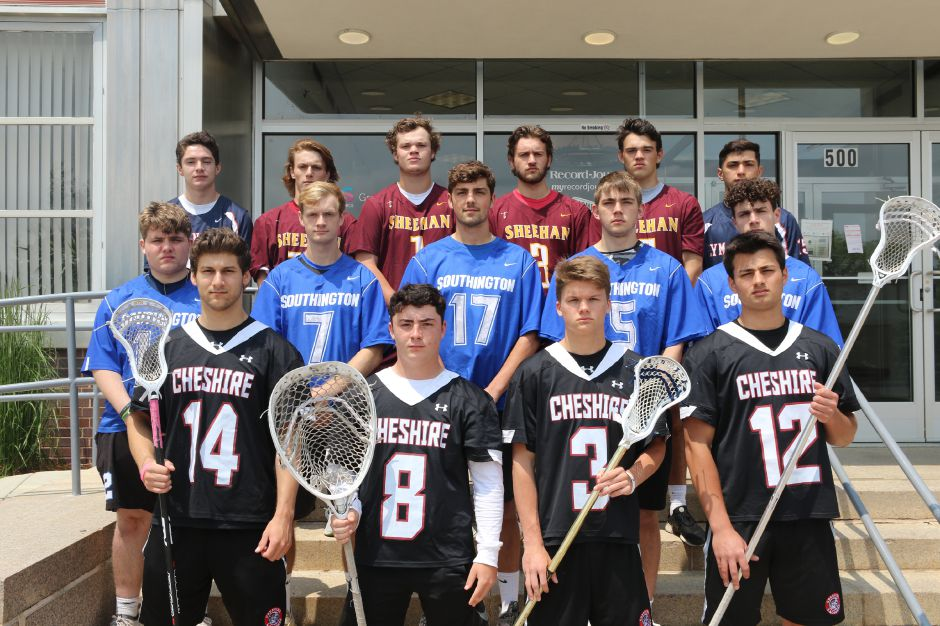 Introducing the 2019 All-Record-Journal Boys Lacrosse Team. The Cheshire guys in front, left to right, are Jason Shumilla, Brendan Grove, Tim Krutz and Nick DiDomizio. The Southington Blue Knights in the middle, left to right, are Garrett Brown, Evan Johanns, Eli Steindl, Matt Thompson and Ethan Thomson. In back, Lyman Hall teammates Matt Pettit (left) and Furkan Parcal (right) bookend Sheehan mates Devin Napoli, Braedon McCarthy, Wes Terzi and Jake Smith. Photos by Spencer Davis, Record-Journal