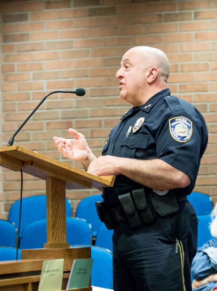 Plainville Police Chief Matthew Catania speaks at the May 21 Town Council meeting. Catania presented the department
