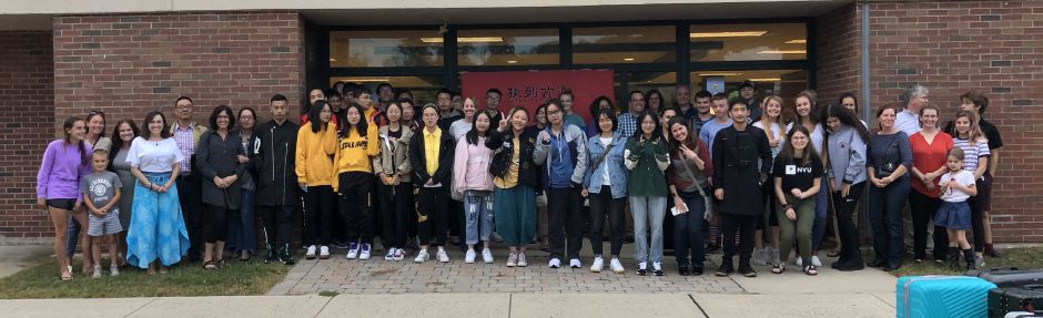 Students from Tongji High School were welcomed to Coginchaug High School on Monday, Sept. 30. Tongji students shadowed Coginchaug students and participated in STEAM activities that promote collaboration. Photo courtesy of RSD-13