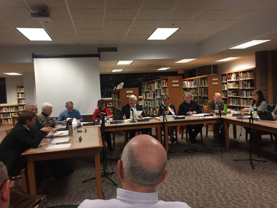 The Regional School District 13 Board of Education discusses how to reconfigure grades to be more fiscally responsible while also meeting the needs of all students, during a regular meeting on Wednesday, Jan. 9, 2019. | Bailey Wright, Record-Journal